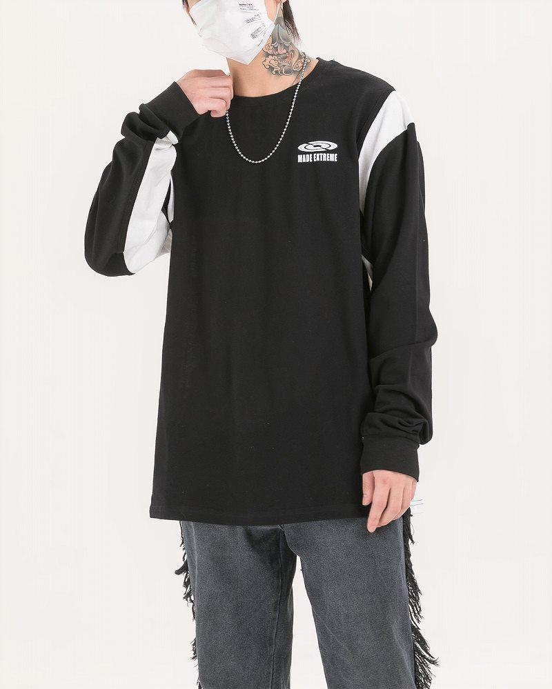 《2色》ドロップショルダーバイカラーロングTシャツの画像2